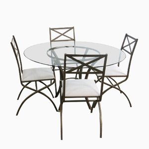 Vintage French Dining Set with Table and 4 Chairs by Pierre Vandel, 1970s