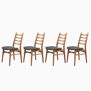 Beech Chairs with Ladder Backs, 1960s, Set of 4