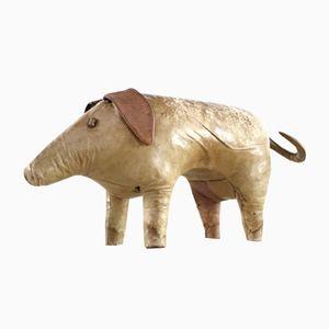 Britischer Mid-Century Schwein Fußhocker aus Leder von Dimitri Omersa