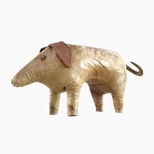 Mid-Century British Leather Pig Footstool by Dimitri Omersa