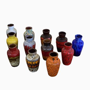 Vintage German Ceramic 523-18 Vases from Scheurich, Set of 15
