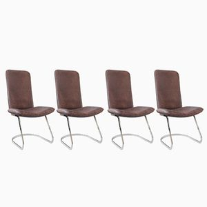 Italian Buffalo Leather & Chrome Dining Chairs, 1970s, Set of 4