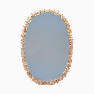 Hinterleuchteter Ovaler Mid-Century Spiegel aus Vergoldetem Messing & Kristallglas von Palwa