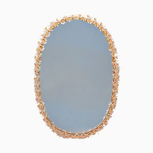 Mid-Century Oval Gilt Brass & Crystal Backlit Mirror from Palwa