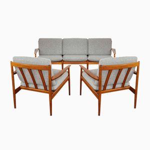 Divano e 2 sedie vintage in teak di Grete Jalk per Glostrup, Danimarca, set di 3