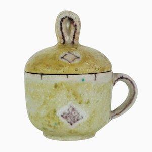 Italienische Töpferwerkstatt Teetasse mit Deckel von Guido Gambone, 1940er