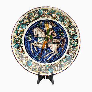 Piatto Mid-Century in ceramica dipinta a mano con destriero di Roger Vandewegem per Perignem, Belgio