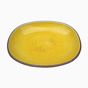 Earthenware Bowl with Yellow Crackle Glaze from Majolica Manufactory, 1970s