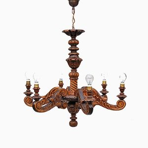 Mid-Century French Hand Carved Wooden Chandelier