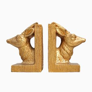 Mid-Century Gold Colored Stag Head Bookends from Merlini, Set of 2