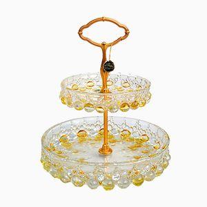 Base per torte a due ripiani con bolle in vetro e stelo dorato di Walther Glas, anni '60