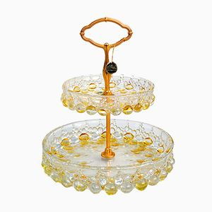 Tiered Bubble Glass Cake Stand with Gilt Stem from Walther Glas, 1960s