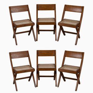 Vintage Bibliothèque Chairs by Pierre Jeanneret, Set of 6