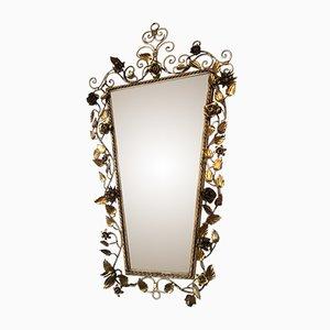 Specchio in metallo dorato, anni '40