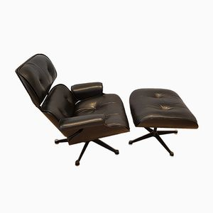 Black Leather Lounge Chair & Ottoman by Charles & Ray Eames for Mobilier International