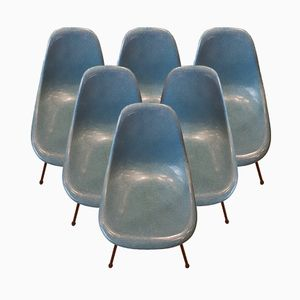 Vintage Blue Fiberglass Chairs by Charles & Ray Eames for Herman Miller, Set of 6