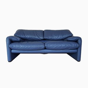 Maralunga 2-Seater Sofa in Blue Leather by Vico Magistretti for Cassina, 1970s
