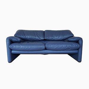Maralunga 2-Sitzer Sofa aus Blauem Leder von Vico Magistretti für Cassina, 1970er