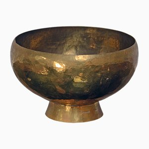 Large Vintage Swedish Bowl in Hammered Brass by Robert Essen