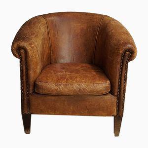 Cognacfarbener Vintage Leder-Klubsessel