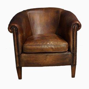 Cognacfarbener Vintage Klubsessel aus Leder