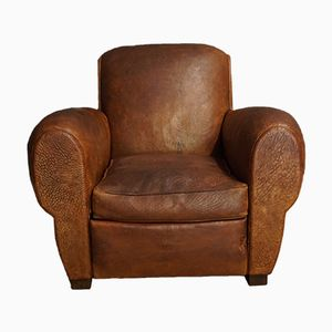 French Cognac Leather Club Chair, 1940s