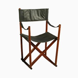 Teak, Brass, & Black Leather Safari Folding Chair by Mogens Koch for Rud. Rasmussen, 1960s