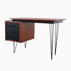 Kleiner Schreibtisch aus Schwarzem Teak Furnier, 1950er