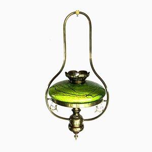 Lampada antica Art Nouveau con paralume in vetro, Austria