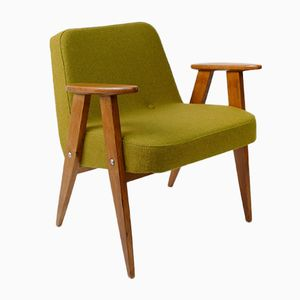 Vintage Model 366 Chair in Green Wool by Józef Chierowski