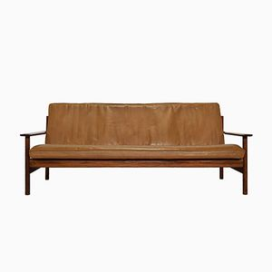 Leather & Solid Rosewood Three-Seater Sofa by Sven Ivar Dysthe for Dokka, 1960s