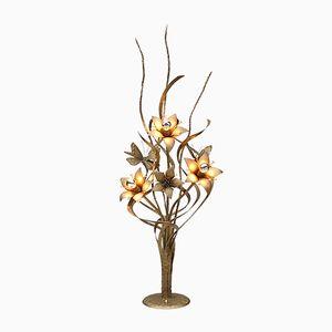 Goldfarbene Vintage Metall Stehlampe in Blumen Optik