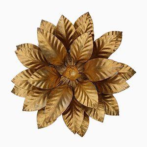 Hollywood Regency Gold Metal Leaf Wall Sconce