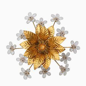 Florale Hollywood Regency Wandlampe aus Goldenem Metall mit Kristall Blumen