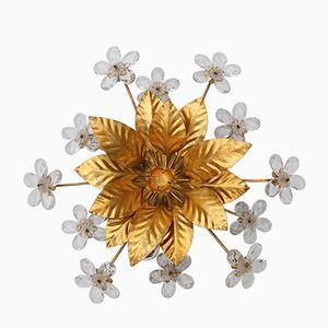 Hollywood Regency Gold Metal Floral Wall Sconce with Crystal Flowers
