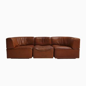 Vintage DS15 Sattelleder Sofa in Cognacfarbe von de Sede