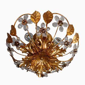 Gold Metal Floral Flush Mount Ceiling Light, 1980s