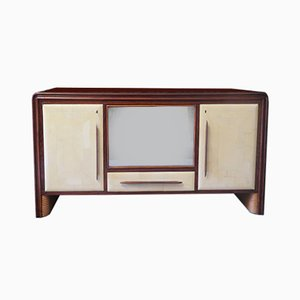 Italian Parchment & Glass Sideboard, 1940s