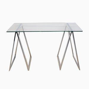 Tavolino con gambe cromate a forma di cavalletto, anni '70