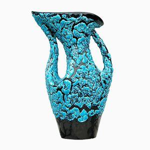 Fat Lava Vase in Hellem Blau und Schwarz, 1950er