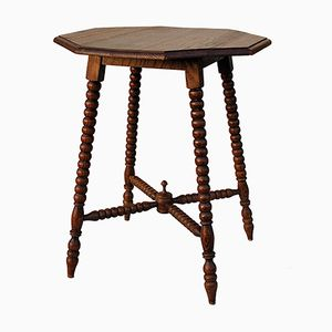 Mid-Century French Bobbin Side Table with Octagonal Top