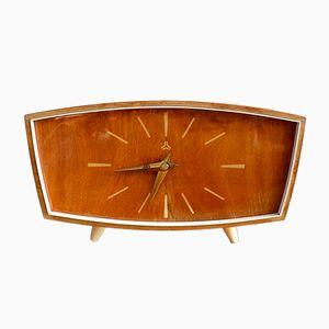 Orologio da tavolo Mid-Century in legno di Weimar, anni '50