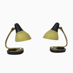 Lampade da tavolo in ottone laccato giallo e nero, Italia, anni '50, set di 2