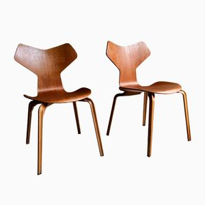 Teak Grand Prix Stühle von Arne Jacobsen für Fritz Hansen, 1966, 2er Set