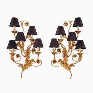 Große Italienische Kerzen Wandlampen mit Floralen Details, 2er Set