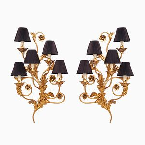 Large Italian Faux Candle Wall Sconces with Floral Details, Set of 2