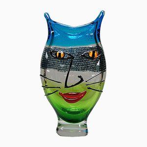 Murano Glas Vase mit Katzengesicht, 1980er