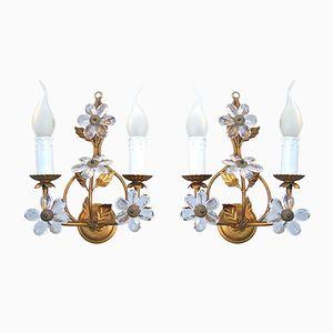 Italienische Vintage Kerzen Wandlampen mit Kristall Blumen, 2er Set