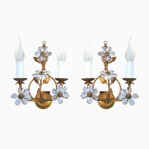 Vintage Italian Candle Wall Sconce with Crystal Flowers, Set of 2