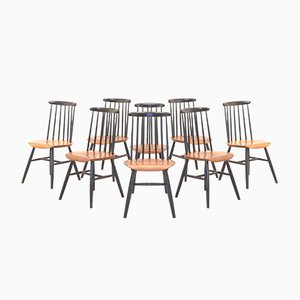 Vintage Fanett Black & Teak Dining Chairs by Ilmari Tapiovaara, Set of 8